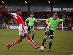 Victor Nirennold of Fleetwood Town tackles Matt Done of Sheffield Utd - English League One - Fleetwood Town vs Sheffield Utd - Highbury Stadium - Fleetwood - England - 5rd March 2016 - Picture Simon Bellis/Sportimage