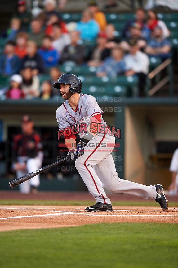Syracuse Chiefs second baseman Steve Lombardozzi (8) at bat during a game against the Rochester Red Wings on July 1, 2016 at Frontier Field in Rochester, New York.  Rochester defeated Syracuse 5-3.  (Mike Janes/Four Seam Images)