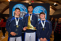 From left, St Kentigern's Shalom Broughton, Levic Kerr and Alex McNaught after the 2019 Schick AA Boys' Secondary Schools Basketball National Championship final between St Kentigern and Rosmini College at the Central Energy Trust Arena in Palmerston North, New Zealand on Saturday, 5 October 2019. Photo: Dave Lintott / lintottphoto.co.nz