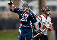 Dan Savage (20) of Penn celebrates his goal while playing Maryland at Ludwig Field in College Park, Maryland.