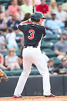 Joe Jackson (3) of the Hickory Crawdads at bat against the Charleston RiverDogs at L.P. Frans Stadium on May 25, 2014 in Hickory, North Carolina.  The RiverDogs defeated the Crawdads 17-10.  (Brian Westerholt/Four Seam Images)