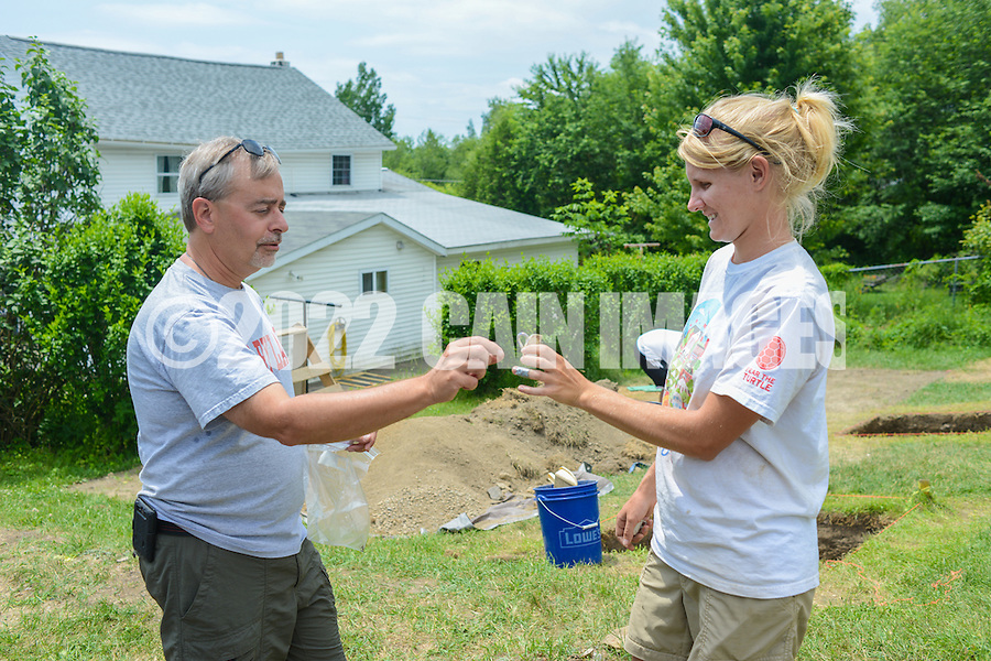 HAZLETON, PA - JUNE 30:  Dr. Paul Shackel (L) speaks with Camille Westmont at the site of an archaeologic dig June 30, 2014 in Hazleton, Pennsylvania. The team is looking through sites connected with the Lattimer Massacre which occurred in 1897. (Photo by William Thomas Cain/Cain Images)