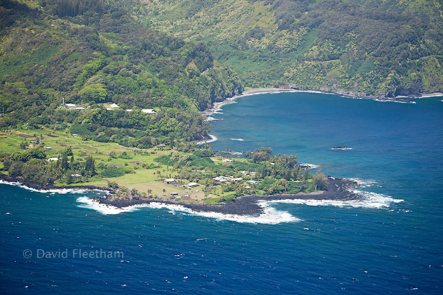 An aerial view of the Keanae Peninsula, along Maui's famous Road to Hana. In 1946, the Keanae Peninsula was almost completely destroyed by a tsunami. Only the old stone church was left standing, Maui, Hawaii.