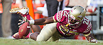 Florida State's Amir Rasul recovers a Wake Forest fumbled punt attempt in the first half of an NCAA college football game in Tallahassee, Fla., Saturday, Oct. 15, 2016. (AP Photo/Mark Wallheiser)