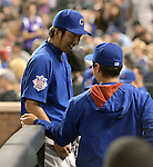 Kyuji Fujikawa, Tsuyoshi Wada (Cubs),<br /> AUGUST 6, 2014 - MLB : Kyuji Fujikawa (L) and Tsuyoshi Wada of the Chicago Cubs during the Major League Baseball game against the Colorado Rockies at Coors Field, Denver,  Colorado, USA.<br /> (Photo by AFLO)