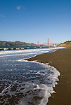 San Francisco: Baker Beach with Golden Gate Bridge in background.  Photo # 2-casanf76345.  Photo copyright Lee Foster