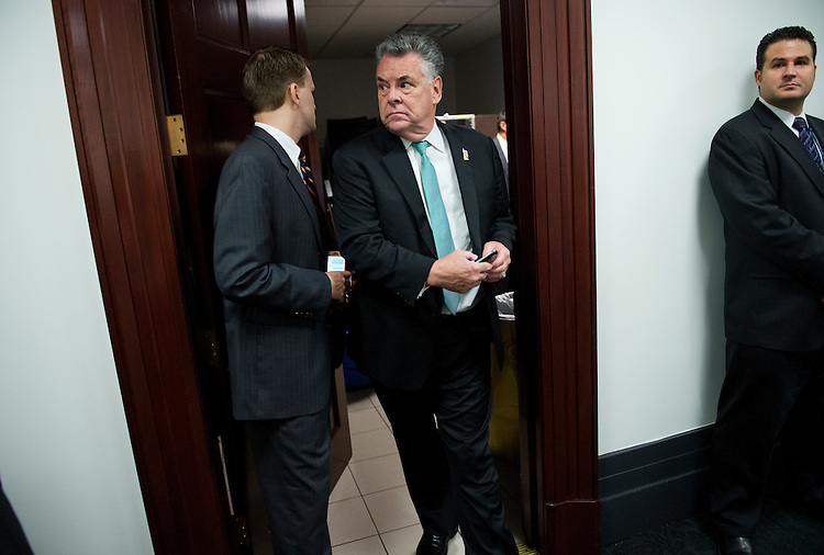 UNITED STATES - SEPTEMBER 26: Rep. Peter King, R-N.Y., leaves a meeting of the Republican caucus in the Capitol. (Photo By Tom Williams/CQ Roll Call)