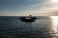Ostia, 2 Novembre, 2017. Un pontile distrutto e abbandonato antistante la spiaggia di Ostia
