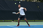 Bar Botzer of the Wake Forest Demon Deacons in action against the Texas A&M Aggies during the semifinals at the 2018 NCAA Men's Tennis Championship at the Wake Forest Tennis Center on May 21, 2018 in Winston-Salem, North Carolina. The Demon Deacons defeated the Aggies 4-3. (Brian Westerholt/Sports On Film)