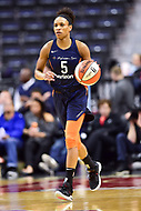 Washington, DC - June 3, 2018: Connecticut Sun guard Jasmine Thomas (5) brings the ball up court during game between the Washington Mystics and Connecticut Sun at the Capital One Arena in Washington, DC. (Photo by Phil Peters/Media Images International)