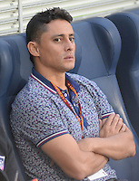 IBAGUE -COLOMBIA, 7-09-2016 Giovanni Hernandez director técnico  del Junior durante  el encuentro contra Huila  por   la Liga Aguila II 2016 disputado en el estadio Murillo Toro./ Giiovanni Hernandez  coach of  Junior  against Huila     during match for the  Aguila League II 2016 played at Murillo Toro stadium. Photo:VizzorImage / Juan Carlos Escobar  / Contribuidor