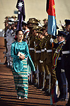 Myanmar's State Counsellor Aung San Suu Kyi receives an official welcome on the forecourt of Parliament House, Canberra, Monday, March 19, 2018. AFP PHOTO/ MARK GRAHAM