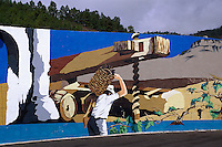 Spanien, Kanarische Inseln, Teneriffa, Wandbild (Mural) in Vilaflor