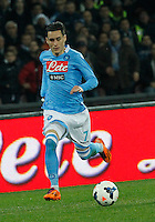 Jose Callejon    in action during the Italian Serie A soccer match between SSC Napoli and AS Roma   at San Paolo stadium in Naples, March 09 , 2014