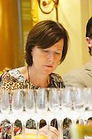 Britt Karlsson at Professional Wine tasting at hotel George V, Paris. Wine glasses.