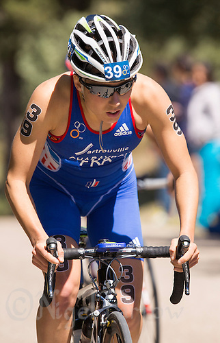 01 JUN 2013 - MADRID, ESP - Emmie Charayron (FRA) of France on the bike during the elite women's ITU 2013 World Triathlon Series round in Casa de Campo, Madrid, Spain <br /> (PHOTO (C) 2013 NIGEL FARROW)