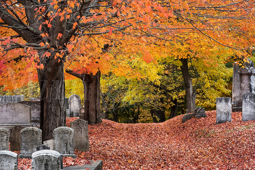 Autumn cemetery, Yarmouth, Maine, USA.