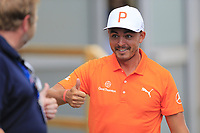 Rickie Fowler (USA) after the final round of the Aberdeen Standard Investments Scottish Open, Gullane Golf Club, Gullane, East Lothian, Scotland. 15/07/2018.<br /> Picture Fran Caffrey / Golffile.ie<br /> <br /> All photo usage must carry mandatory copyright credit (&copy; Golffile | Fran Caffrey)