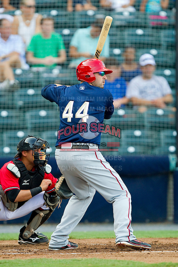 Tim Pahuta #44 of the Harrisburg Senators at bat against the Richmond Flying Squirrels in game one of a double-header at The Diamond on July 22, 2011 in Richmond, Virginia.  The Squirrels defeated the Senators 3-1.   (Brian Westerholt / Four Seam Images)