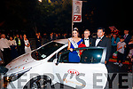 Offaly Rose, Jennifer Byrne newly crowned crowned Rose of Tralee being presented with the keys for her Kia car by Patrick McElligott and Woo Jai Kim, President of Kia Motors Ireland in Denny Street on Tuesday Night.