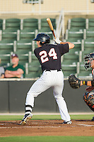 Jacob Morris (24) of the Kannapolis Intimidators at bat against the Delmarva Shorebirds at CMC-NorthEast Stadium on July 2, 2014 in Kannapolis, North Carolina.  The Intimidators defeated the Shorebirds 6-4. (Brian Westerholt/Four Seam Images)