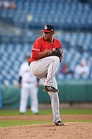 Louisville Bats relief pitcher Wandy Peralta (43) delivers a pitch during a game against the Syracuse Chiefs on June 6, 2016 at NBT Bank Stadium in Syracuse, New York.  Syracuse defeated Louisville 3-1.  (Mike Janes/Four Seam Images)
