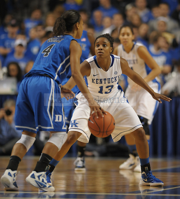 University of Kentucky player Bria Goss plays defense during the first half of the University of Kentucky Women's Basketball game against Duke at Rupp Arena in Lexington, Ky., on 12/8/11. Uk trailed the game at half  31-34. Photo by Mike Weaver | Staff