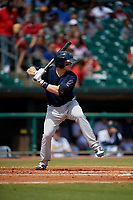 Mobile BayBears Connor Justus (7) at bat during a Southern League game against the Montgomery Biscuits on May 2, 2019 at Riverwalk Stadium in Montgomery, Alabama.  Mobile defeated Montgomery 3-1.  (Mike Janes/Four Seam Images)