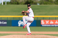 Mesa Solar Sox relief pitcher Daniel Procopio (31), of the Los Angeles Angels organization, delivers a pitch during an Arizona Fall League game against the Salt River Rafters at Sloan Park on October 30, 2018 in Mesa, Arizona. Salt River defeated Mesa 14-4 . (Zachary Lucy/Four Seam Images)