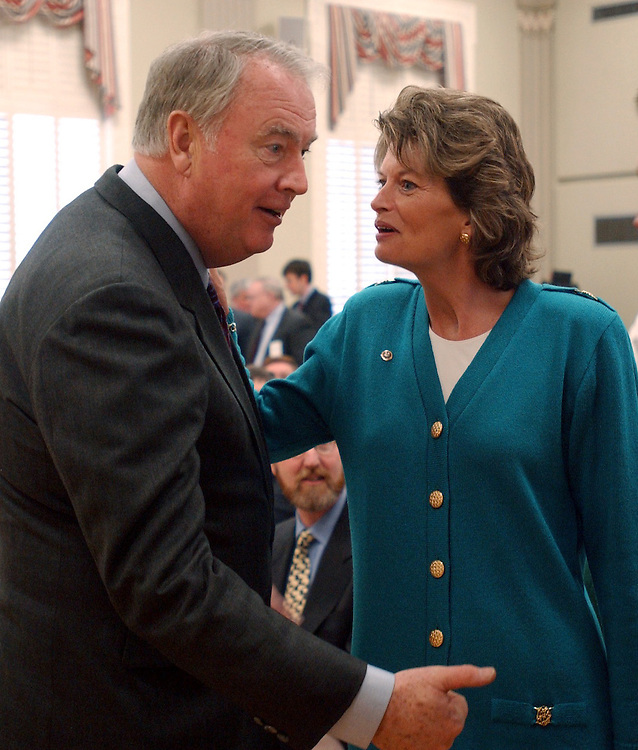 ENERGY4_010803 --  Gov. Frank Murkowski, R-Alaska and his daughter Lisa Murkowski, R-Alaska during a signing ceremony to renew the Federal Agreement and Right-of-Way for the Trans-Alaska Pipeline System at the Interior Department in Washington D.C.