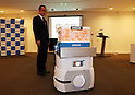 "October 3, 2016, Chiba, Japan - Japanese electronics maker Omron displays autonomous driving transport robot ""Mobile Robot RD"" at a press preview of the CEATEC Japan 2016 in Chiba, suburban Tokyo on Monday, October 3, 2016. The cargo robot , equipped with laser scanner, can make maps of area and get out of the way of obstacles.   (Photo by Yoshio Tsunoda/AFLO) LWX -ytd-"