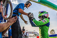 Pole winner, Olivier Pla, 12 Hours of Sebring, Sebring International Raceway, Sebring, FL, March 2015.  (Photo by Brian Cleary/ www.bcpix.com )