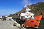 Ferry boat at quayside, North harbour, Cape Clear Island, County Cork, Ireland, Irish Republic