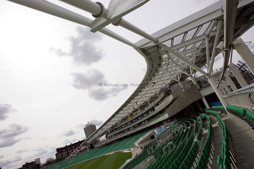 Photo:  Frances Leader..Surrey County Cricket Club press conference. The Oval. 05/04/2005..The new stand at The Oval cricket ground...... .