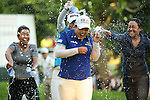 Jenny Shin (left), Meena Lee (back), Inbee Park (center) Ilhee Lee (right) lee at the LPGA Championship 2014 Sponsored By Wegmans at Monroe Golf Club in Pittsford, New York on August 17, 2014