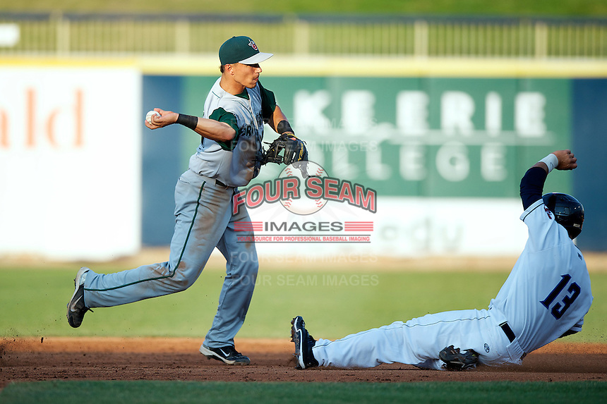 Fort Wayne TinCaps Jace Peterson #6 attempts to turn a double play as Alex Lavisky #13 slides in during a game against the Lake County Captains at Classic Park on July 2, 2012 in Eastlake, Ohio.  Fort Wayne defeated Lake County 5-4.  (Mike Janes/Four Seam Images)