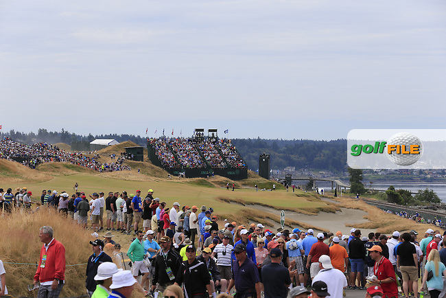 Packed galleries at the 17th hole during Thursday's Round 1 of the 2015 U.S. Open 115th National Championship held at Chambers Bay, Seattle, Washington, USA. 6/18/2015.<br /> Picture: Golffile | Eoin Clarke<br /> <br /> <br /> <br /> <br /> All photo usage must carry mandatory copyright credit (&copy; Golffile | Eoin Clarke)