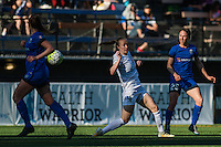 Seattle, WA - Sunday, May 1, 2016: Seattle Reign FC forward Kiersten Dallstream (25) passes the ball down the right flank during a National Women's Soccer League (NWSL) match at Memorial Stadium. Seattle won 1-0.
