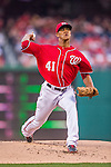 22 August 2015: Washington Nationals pitcher Joe Ross on the mound against the Milwaukee Brewers at Nationals Park in Washington, DC. The Nationals defeated the Brewers 6-1 in the second game of their 3-game weekend series. Mandatory Credit: Ed Wolfstein Photo *** RAW (NEF) Image File Available ***