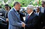 Palestinian President Mahmud Abbas and Turkish Prime Minister Recep Tayyip Erdogan attend the Palestinian ambassadors meeting in Istanbul on July 23, 2011. Mahmud Abbas said Saturday that the Palestinians' bid for UN membership was forced upon them by Israel's refusal to halt settlement building and end its occupation. Photo by Thaer Ganaim