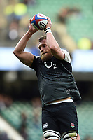 Brad Shields of England wins the ball at a lineout during the pre-match warm-up. Guinness Six Nations match between England and Italy on March 9, 2019 at Twickenham Stadium in London, England. Photo by: Patrick Khachfe / Onside Images
