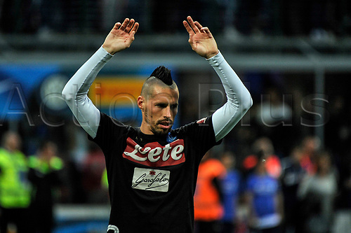 April 30th 2017, San Siro Stadium, Milan, Italy;  Marek Hamsik of Napoli before the Serie A football match, Inter Milan versus Napoli;  Napoli won the game by a score of 0-1