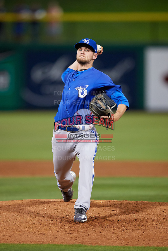 Dunedin Blue Jays relief pitcher Nick Hartman (14) delivers a pitch during a game against the Clearwater Threshers on April 6, 2018 at Spectrum Field in Clearwater, Florida.  Clearwater defeated Dunedin 8-0.  (Mike Janes/Four Seam Images)