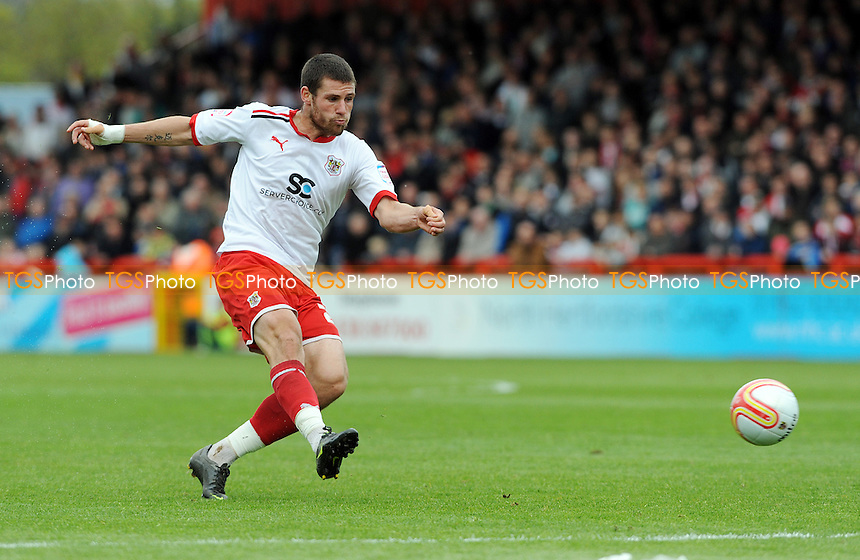 Michael Bostwick of Stevenage tries a shot on goal - Stevenage vs Bury - nPower League One Football at the Lamex Stadium, Broadhall Way - 05/05/12 - MANDATORY CREDIT: Anne-Marie Sanderson/TGSPHOTO - Self billing applies where appropriate - 0845 094 6026 - contact@tgsphoto.co.uk - NO UNPAID USE.