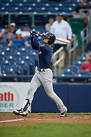 New Hampshire Fisher Cats first baseman Cavan Biggio (6) follows through on a swing during a game against the Trenton Thunder on August 19, 2018 at ARM & HAMMER Park in Trenton, New Jersey.  New Hampshire defeated Trenton 12-1.  (Mike Janes/Four Seam Images)