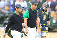 Hideki Matsuyama (International) and Byeong Hun An (International) on the 4th fairway during the Second Round - Foursomes of the Presidents Cup 2019, Royal Melbourne Golf Club, Melbourne, Victoria, Australia. 13/12/2019.<br /> Picture Thos Caffrey / Golffile.ie<br /> <br /> All photo usage must carry mandatory copyright credit (© Golffile | Thos Caffrey)