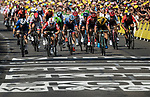 Caleb Ewan (AUS) Lotto-Soudal outsprints Elia Viviani (ITA) Deceuninck-Quick Step and Dylan Groenewegen (NED) Team Jumbo-Visma to win Stage 16 of the 2019 Tour de France running 177km from Nimes to Nimes, France. 23rd July 2019.<br /> Picture: ASO/Alex Broadway | Cyclefile<br /> All photos usage must carry mandatory copyright credit (© Cyclefile | ASO/Alex Broadway)