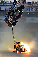 Sept. 29, 2012; Madison, IL, USA: NHRA funny car driver Terry Haddock blows the body off his car on fire during qualifying for the Midwest Nationals at Gateway Motorsports Park. Haddock would be uninjured. Mandatory Credit: Mark J. Rebilas-