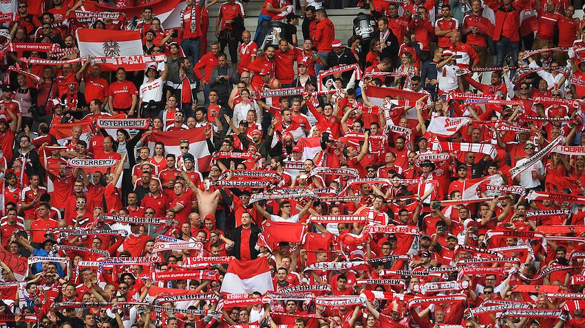 Austria fans watch the match<br /> <br /> Photographer Kevin Barnes/CameraSport<br /> <br /> International Football - 2016 UEFA European Championship -  Group F - Austria v Hungary - Tuesday 14th June 2016 - Stade de Bordeaux, Bordeaux, France<br /> <br /> World Copyright &copy; 2016 CameraSport. All rights reserved. 43 Linden Ave. Countesthorpe. Leicester. England. LE8 5PG - Tel: +44 (0) 116 277 4147 - admin@camerasport.com - www.camerasport.com