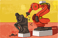 Robotic chisel creating The Thinker